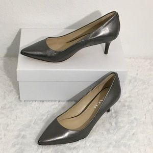 Coach Pewter LACEY Kitten Heel Leather Pumps